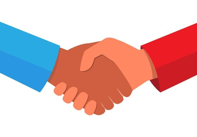 Uścisk dłoni lub umowa biznesowa między dwojgiem ludzi innej rasy. równość rasowa. wszyscy ludzie są równi. wektor eps 10
