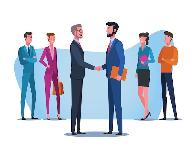 Uścisk dłoni partnerstwa biznesowego. biznesmen uścisk dłoni podczas spotkania w biurze