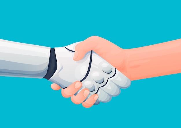Uścisk dłoni partnerstwa człowieka i robota