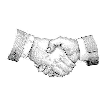Uścisk dłoni rysunek styl vintage grawerowania