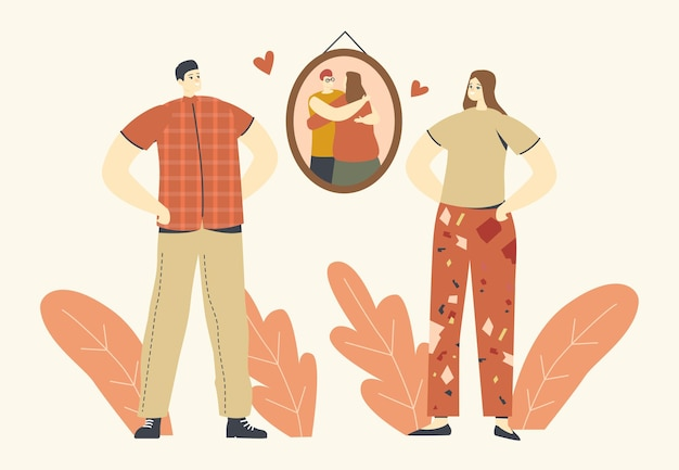 Uściski, ciepły uścisk, koncepcja miłości. postacie męskie i żeńskie stoją przed obrazem na ścianie z przytulającymi się ludźmi lub rodzicami