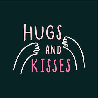 Uściski i pocałunki z miłości ramion wektor