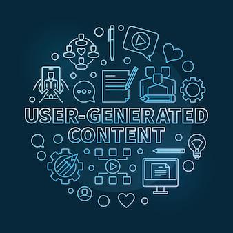 Usergenerated content round konturu błękita ilustracja