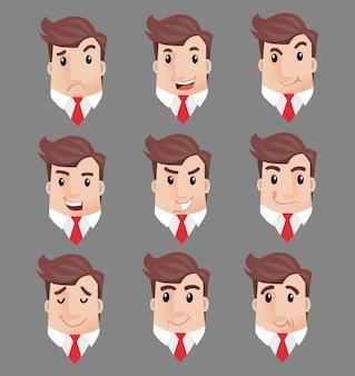 Usinessman wiele twarzy emocji postaci
