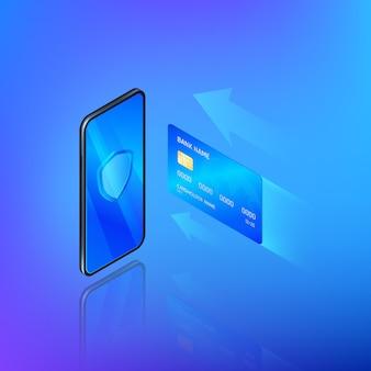 Usługa bankowa online w aplikacji mobilnej. koncepcja przelewu lub zakupy w internecie.