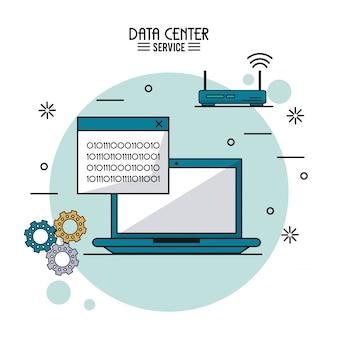 Usługa centrum danych z laptopem z binarnym oknem i routerem bezprzewodowym