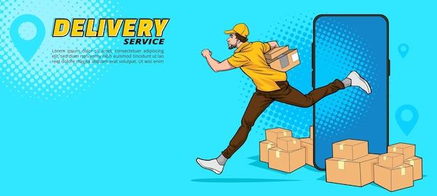 Usługa człowiek dostawy działa w stylu retro vintage pop art comic!