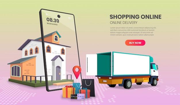 Usługa dostarczania ciężarówek do dostarczania żywności i paczek zakupów online. ilustracja 3d.