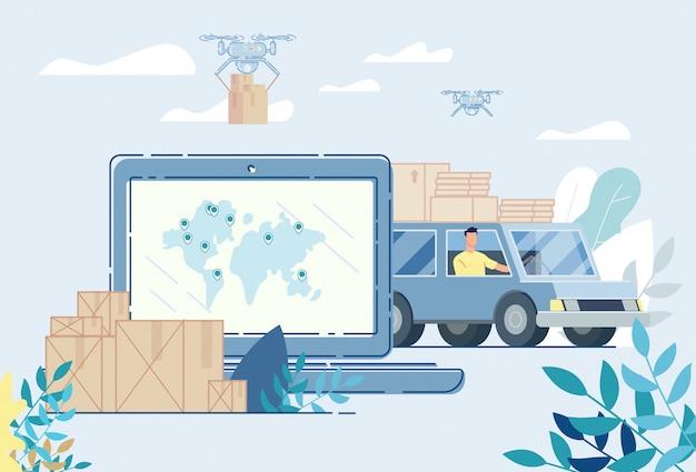 Usługa dostarczania przesyłek lotniczych drogą lądową przez internet