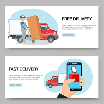 Usługa dostawy bezpłatne i szybkie banery
