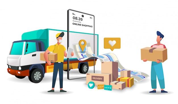 Usługa dostawy ciężarówek do dostarczania zakupów i paczek przez internet.