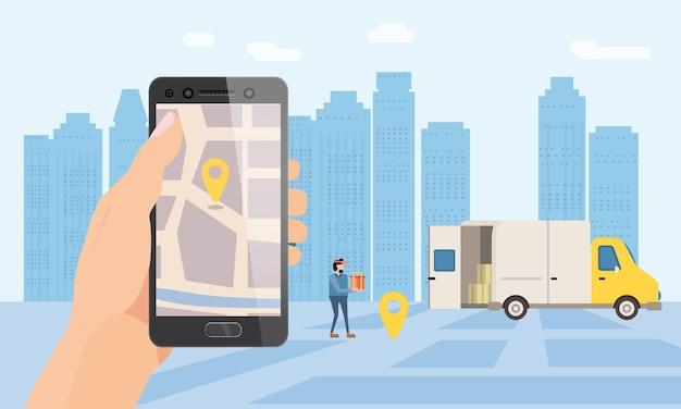 Usługa dostawy ciężarówek. ręcznie przytrzymaj aplikację na smartfona do śledzenia mapy przesyłki. 24 7 samochód dostawczy
