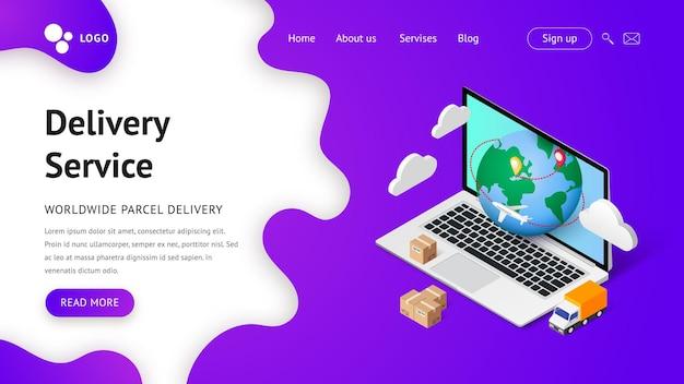 Usługa dostawy ilustracji izometrycznej online. koncepcja strony docelowej z laptopem, planetą, ciężarówką, samolotem i pudełkami. transport i logistyka koncepcja reklamy cyfrowe zakupy.