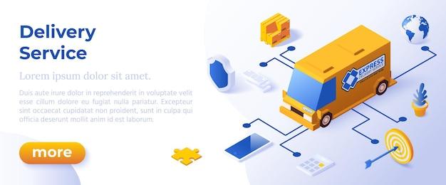 Usługa dostawy - izometryczny projekt w modnych kolorach izometryczny ikony na niebieskim tle. szablon układu banera do tworzenia stron internetowych