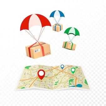 Usługa dostawy koncepcji. pakiety logistyczne i dostawcze. na przezroczystym tle