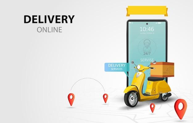Usługa dostawy online przez skuter. strona zakupów na telefonie komórkowym. koncepcja zamówienia żywności. baner internetowy, szablon aplikacji. ilustracja
