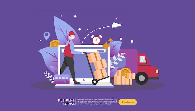 Usługa dostawy online. zamów ekspresową koncepcję śledzenia z malutkim charakterem i ciężarówką skrzyni ładunkowej.