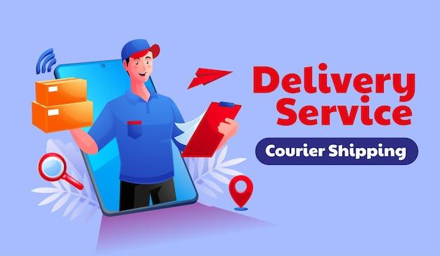 Usługa dostawy towarów za pomocą smartfona mobilnego