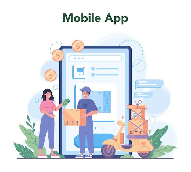 Usługa dostawy usługi lub platformy online. kurier w mundurze