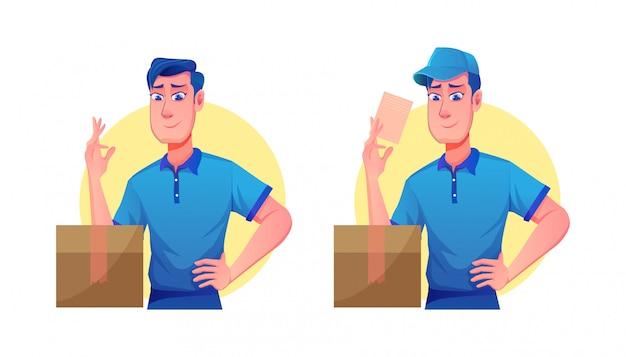 Usługa dostawy z czapkami i kurierami delivery man (ilustracja kreskówka przedstawiająca usługę dostawy maskotek)
