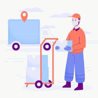 Usługa dostawy z koncepcją masek