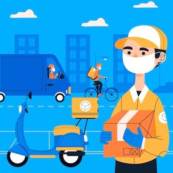 Usługa dostawy z projektem masek