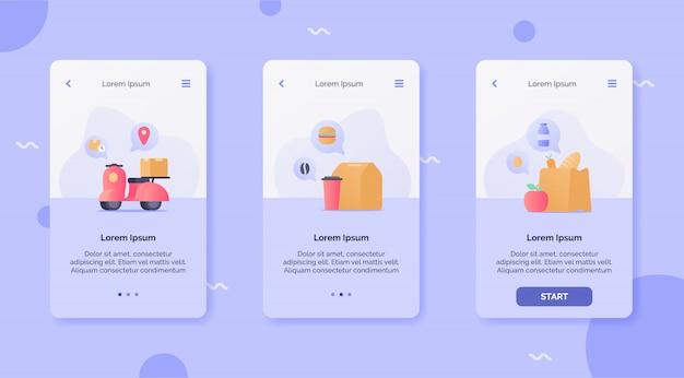 Usługa dostawy z szybką dostawą hulajnogi koncepcja kampanii artykułów spożywczych i napojów dla aplikacji mobilnych projektuje szablon lądowania nowoczesnego stylu cartoon płaski