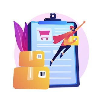Usługa dostawy zamówień online, wysyłka. koszyk sklepu internetowego, pudełka kartonowe, kupujący z laptopem. dowód dostawy na ekranie monitora i na paczce.