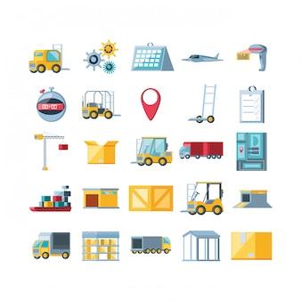 Usługa dostawy zestaw ikon