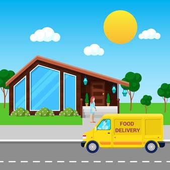 Usługa dostawy żywności ciężarówka przyniosła zamówienie do klienta.