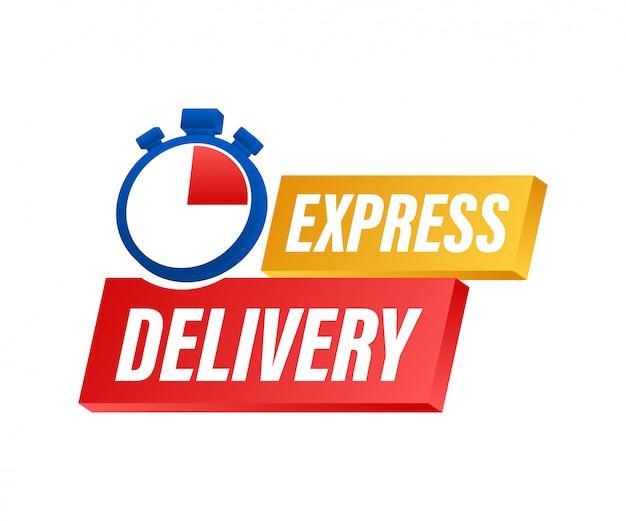 Usługa ekspresowej dostawy. szybkie zamówienie dostawy ze stoperem. ilustracji.