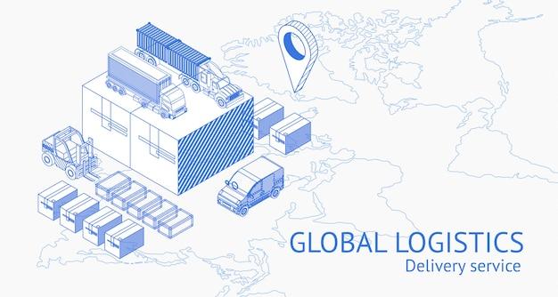 Usługa globalnej dostawy w izometrii