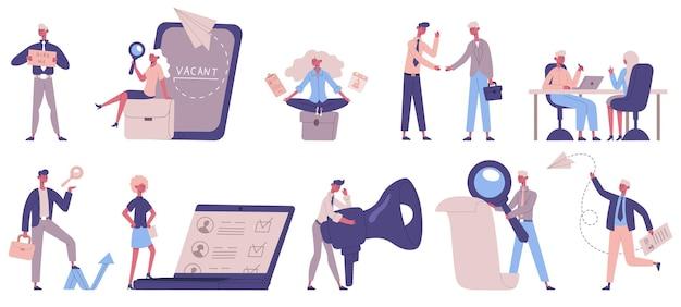 Usługa headhunterska. rekrutacja, menedżerowie hr, wakaty i postacie pracodawców, ludzie zatrudniający zestaw ilustracji wektorowych. osoby poszukujące pracy i rekrutacja pracowników