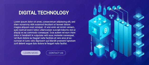 Usługa hostingowa, duże centrum danych, kryptowaluta i koncepcja szablonu banera izometrycznego składu blockchain, ilustracja farmy kryptograficznej wydobywania.