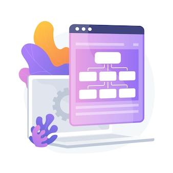 Usługa hostingowa. łańcuchy informacyjne i zarządzanie treścią. sieć, połączenie, synchronizacja. serwer internetowy, przechowywanie danych. ilustracja wektorowa na białym tle koncepcja metafora