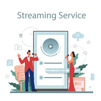 Usługa i platforma strumieniowego przesyłania muzyki. przesyłanie strumieniowe muzyki online z innego urządzenia. wykonawca śpiewa z mikrofonem.