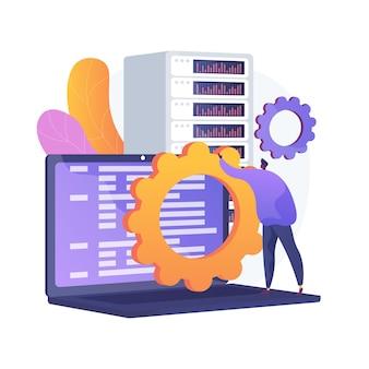 Usługa konserwacji serwera. transfer informacji, ustawienia sprzętu. idea serwera sieciowego. technologia hostingu, przechowywanie baz danych, sprzęt do programowania. ilustracja wektorowa na białym tle koncepcja metafora