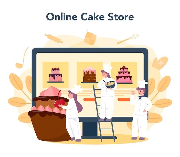 Usługa lub platforma cukiernicza online. sklep internetowy. profesjonalny cukiernik kucharz gotuje ciasto na wakacje. ilustracja na białym tle płaski wektor