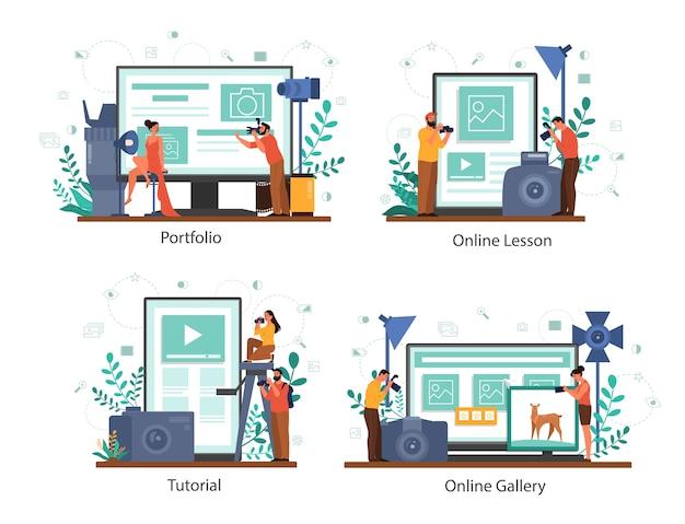Usługa lub platforma fotograficzna online na innym zestawie koncepcji urządzenia. zawód artystyczny. kurs fotografii, portfolio, galeria.