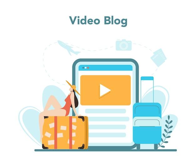 Usługa lub platforma internetowa biura podróży. pracownik biurowy sprzedający bilety na wycieczki, rejsy, bilety lotnicze lub kolejowe. blog wideo.