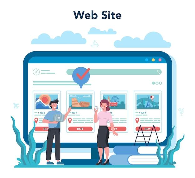 Usługa lub platforma internetowa biura podróży. pracownik biurowy sprzedający bilety na wycieczki, rejsy, bilety lotnicze lub kolejowe. stronie internetowej.