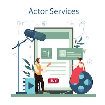 Usługa lub platforma internetowa dla aktorów i aktorów. idea kreatywnych ludzi i zawodu. przedstawienia teatralne i produkcja filmowa.