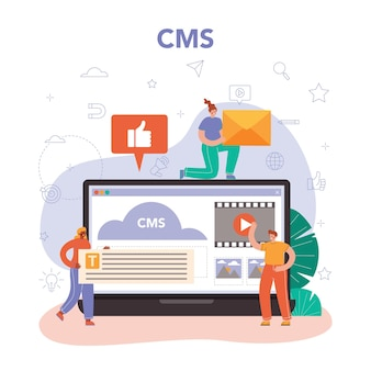 Usługa lub platforma internetowa do zarządzania treścią. idea strategii cyfrowej
