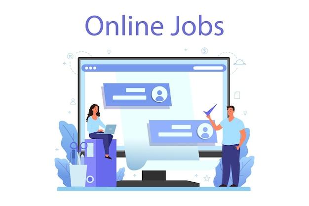 Usługa lub platforma internetowa dotycząca zasobów ludzkich. idea rekrutacji i zarządzania pracą.