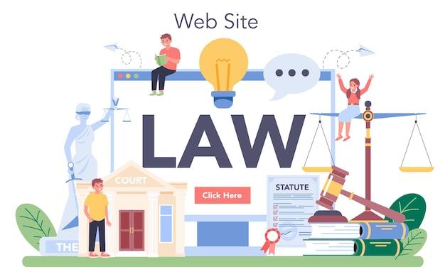 Usługa lub platforma internetowa klasy prawniczej. edukacja w zakresie kary i sądu. kurs prawoznawstwa. stronie internetowej.