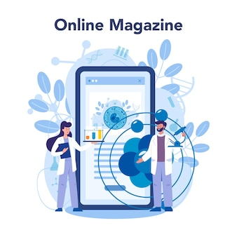 Usługa lub platforma internetowa nanomedic. naukowcy pracują w laboratorium nad nanotechnologią. magazyn online. .