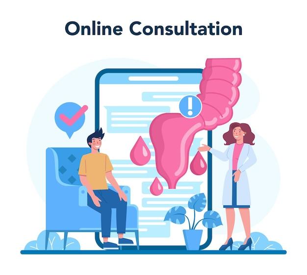 Usługa lub platforma internetowa proktologa. lekarz bada jelita. konsultacje online. ilustracja na białym tle wektor