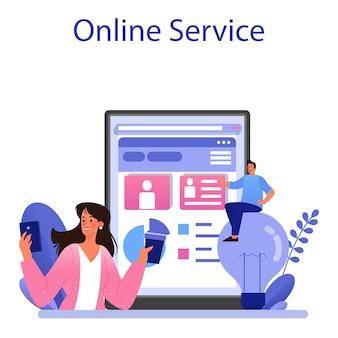 Usługa lub platforma internetowa z zawartością witryny. wypełnianie mediów, tworzenie responsywnych i wirusowych treści dla rozwoju biznesu. płaska ilustracja wektorowa