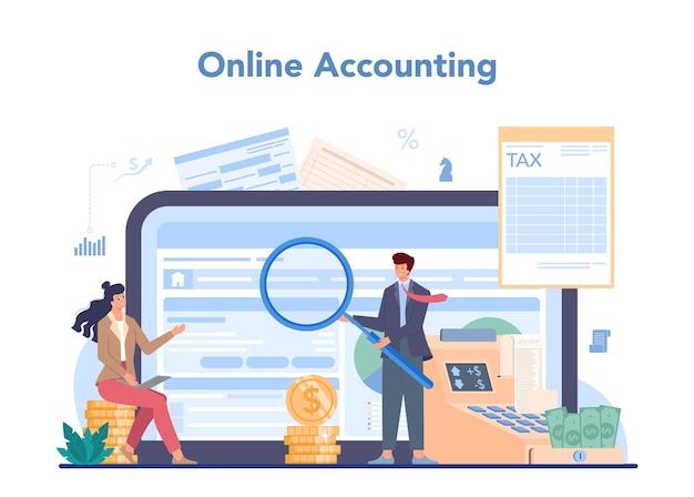 Usługa lub platforma księgowa online. profesjonalny księgowy. pojęcie kalkulacji i rachunkowości podatkowej. księgowość online.