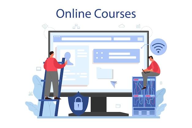 Usługa lub platforma online administratora systemu. osoby pracujące na komputerze i wykonujące prace techniczne z serwerem. kurs online.